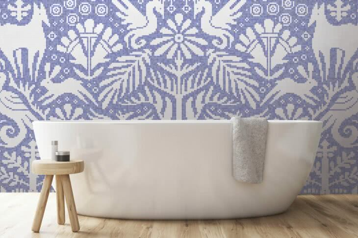 Arttaic GLYPH Collection in Lore Periwinkle mosaic.