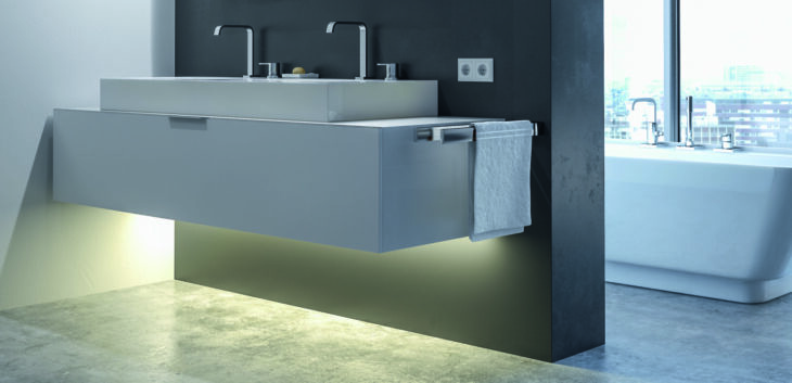 Floating vanity accent with Häfele Loox5 LED lighting system.