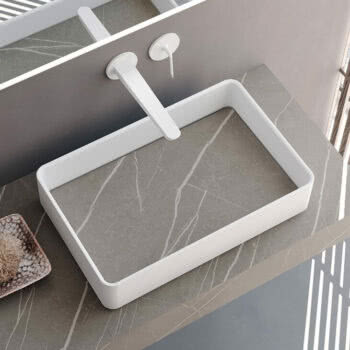 Hastings Tile Bath - Morris Solid Surface Basin with HPL Cover Tray in Pulpis Chiaro