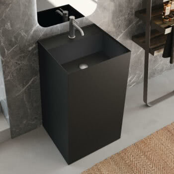 Hastings Tile Bath - Urban Kant Pedestal in Corian Solid Surface in Matte Black