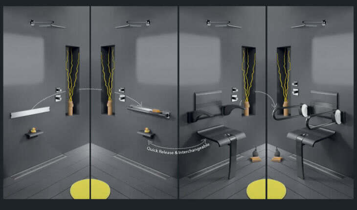 Design By Intent wall hung SwapAble shower chair and other functional accessories such as grab bars, towel bars, shelves or shaving footrests combine functionality with safety for aging in place bathroom.
