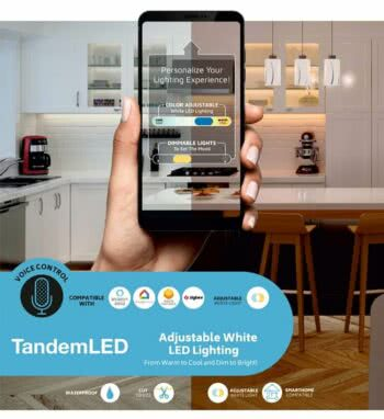The Task Lighting WAV Smart Control system and control lights via a smartphone app or voice command