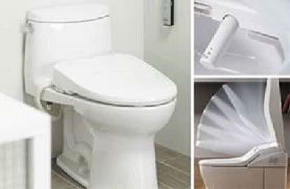 The Washlet features a self-cleaning nozzle and a seat that opens and closes automatically.