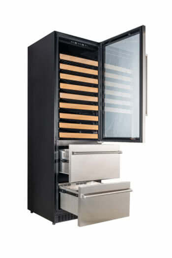 The Vinotemp Stainless Steel Wine & Beverage Cooler has gliding metal wine racks with an elegant wood lip, and the option of a left or right hinge.