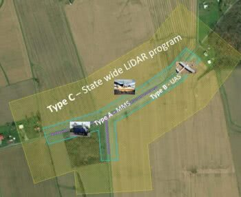 Coverage-area polygons in this image represent the data from three individual mapping tools: UAS, MMS and statewide lidar. Courtesy of Woolpert