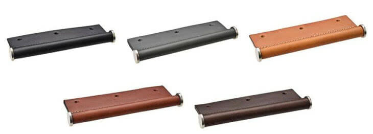 Finishes (pictured left to right) include: Black, Charcoal, Tan, Chestnut Brown, and Chocolate Brown.