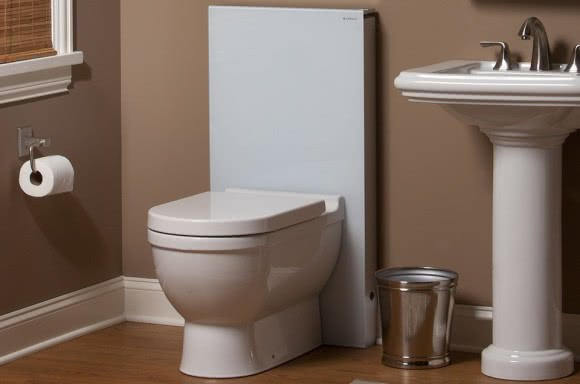 Geberit monolith elegantly replaces the typical tank for Geberit toilet system